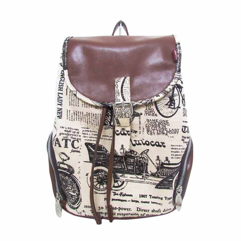 Delarosa Vintage Newspaper Canvas Backpack
