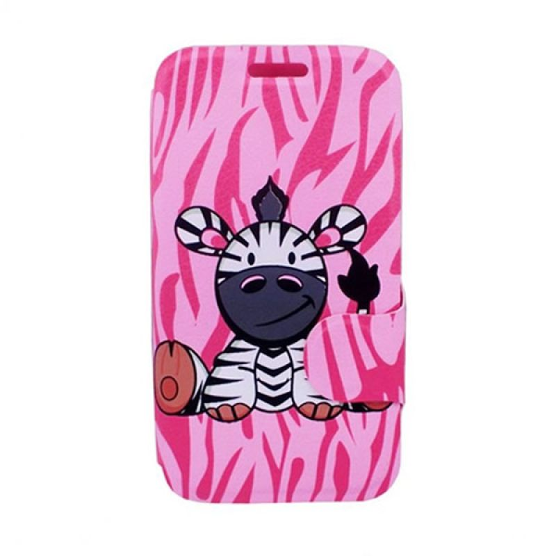 Bazel Flip Cover Motif Zebra for Samsung Galaxy S4 - Pink Type 002