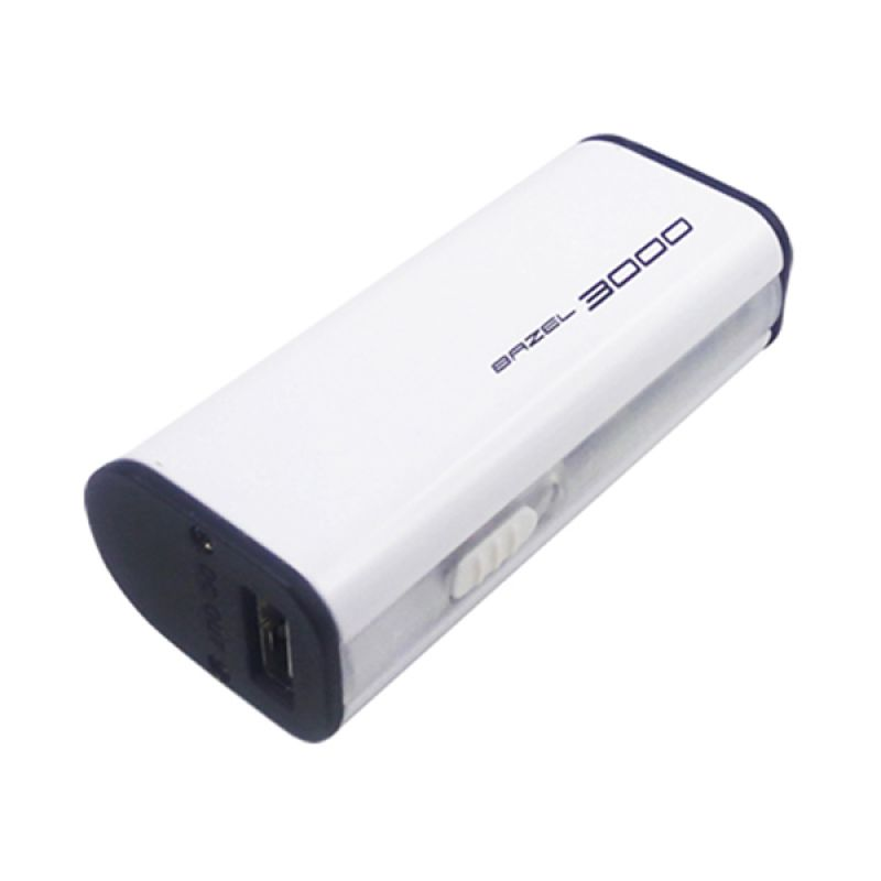 Bazel Power Bank 3000 mAh with Big Flash Light - Putih