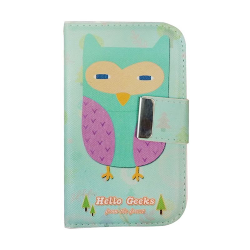 Delcell Flip Case Burung Hantu For Blackberry 9900 - Putih