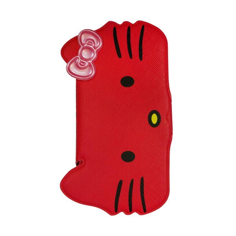 Delcell Flip Case Kepala Hello Kepala Kitty For iPhone 5/5s - Merah