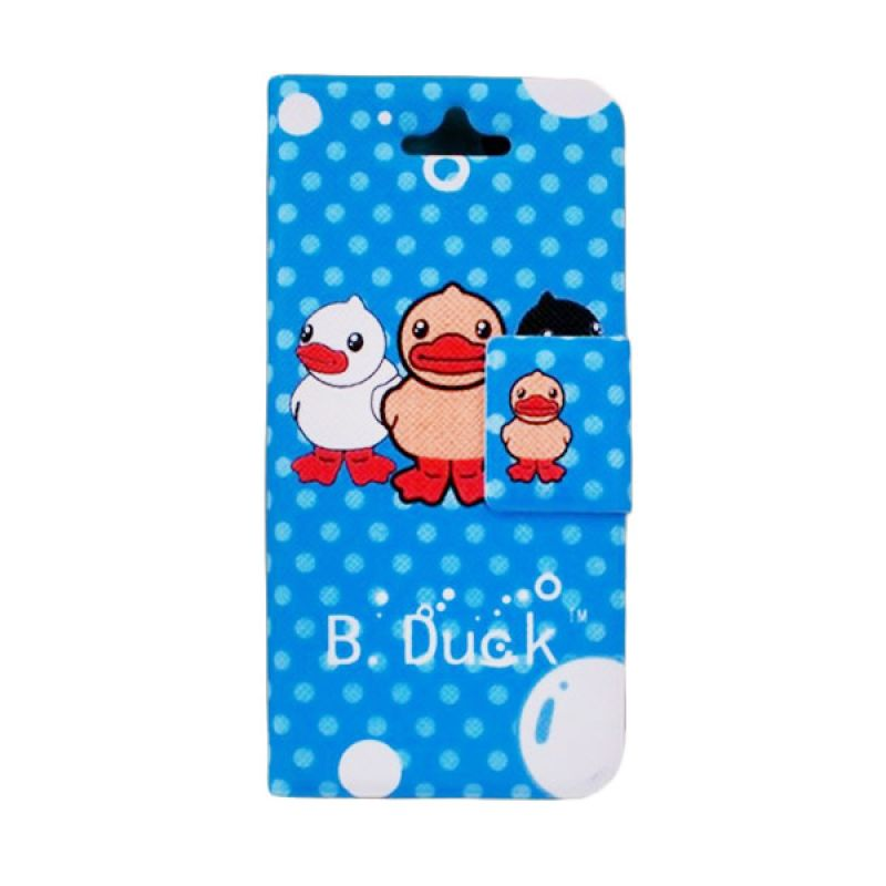 Delcell Flip Cover Case for iPhone 5/5s B-Duck - Biru
