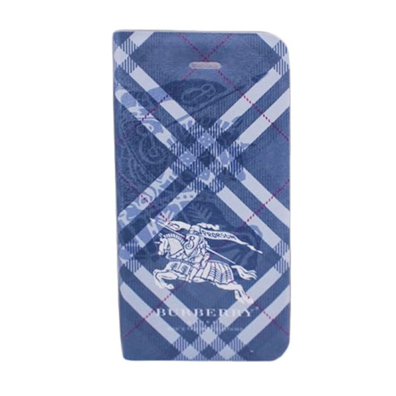Delcell Flip Cover Motif Burberry for iPhone 5 dan 5s - Biru Tua