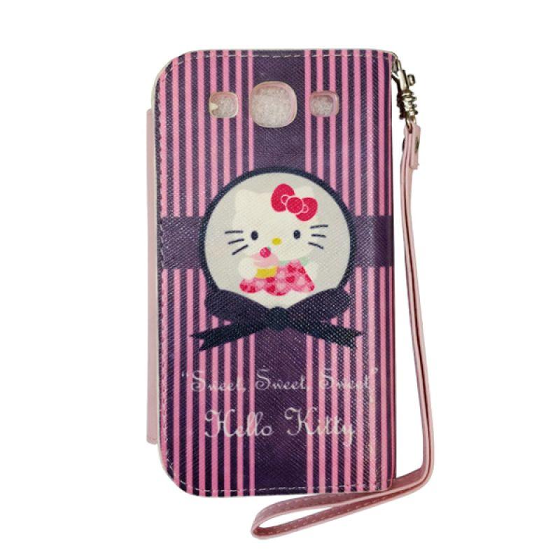 Delcell FlipCase For Samsung Galaxy S3 Hello Kitty Garis Hitam