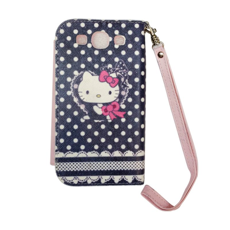 Delcell FlipCase For Samsung Galaxy S3 Hello Kitty Hitam