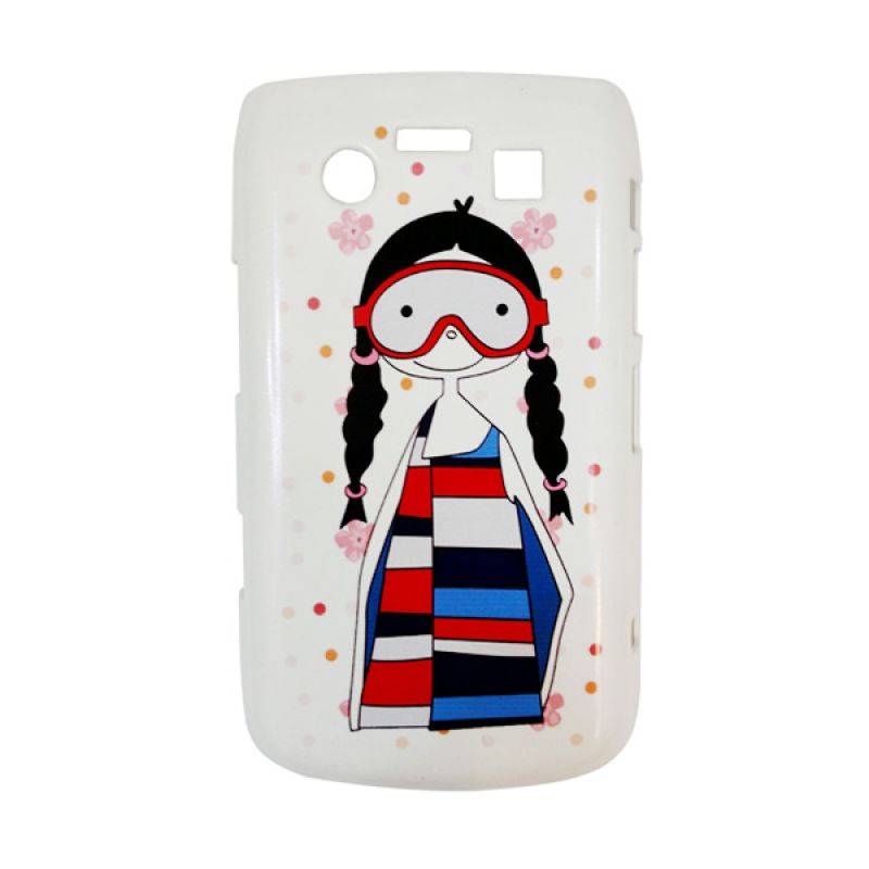 Delcell Hard Case Back Cover Girls Glasses for BlackBerry 9700 Putih