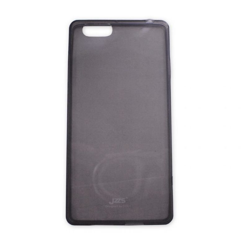 Delcell Jzzs Crystal TPU Soft Case Ultra Thin 0.5mm for OPPO R829T - Hitam Transparan