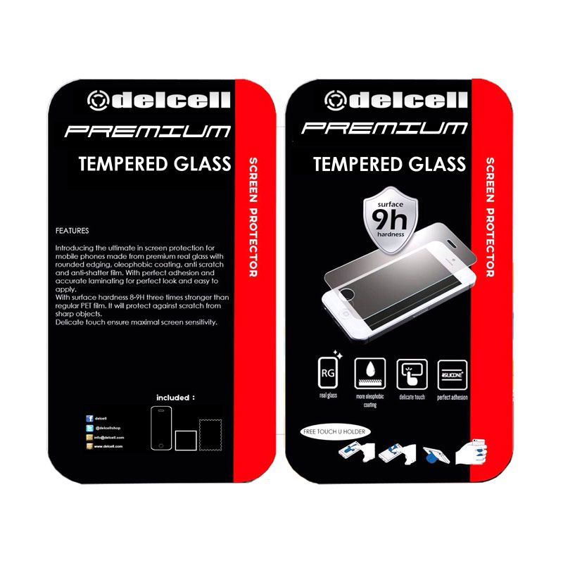 Delcell Premium Tempered Glass Scren Protector for Xiaomi MI 4 Bonus Touch U Holder