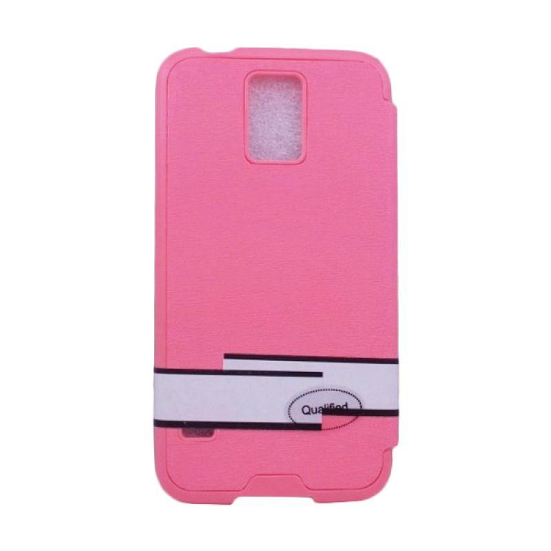 Jzzs Benfeer Flip Cover dan Viewer Samsung Galaxy S5 - Merah Muda
