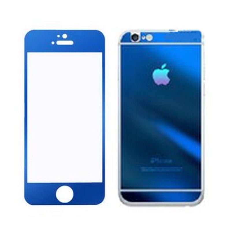 Delcell Biru Tempered Glass Screen Protector for iPhone 5 [Depan Belakang]