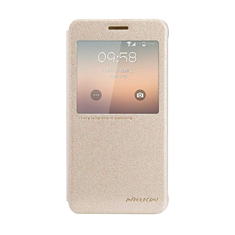 Nillkin Sparkle Leather Gold Flip Cover Casing for Galaxy Alpha