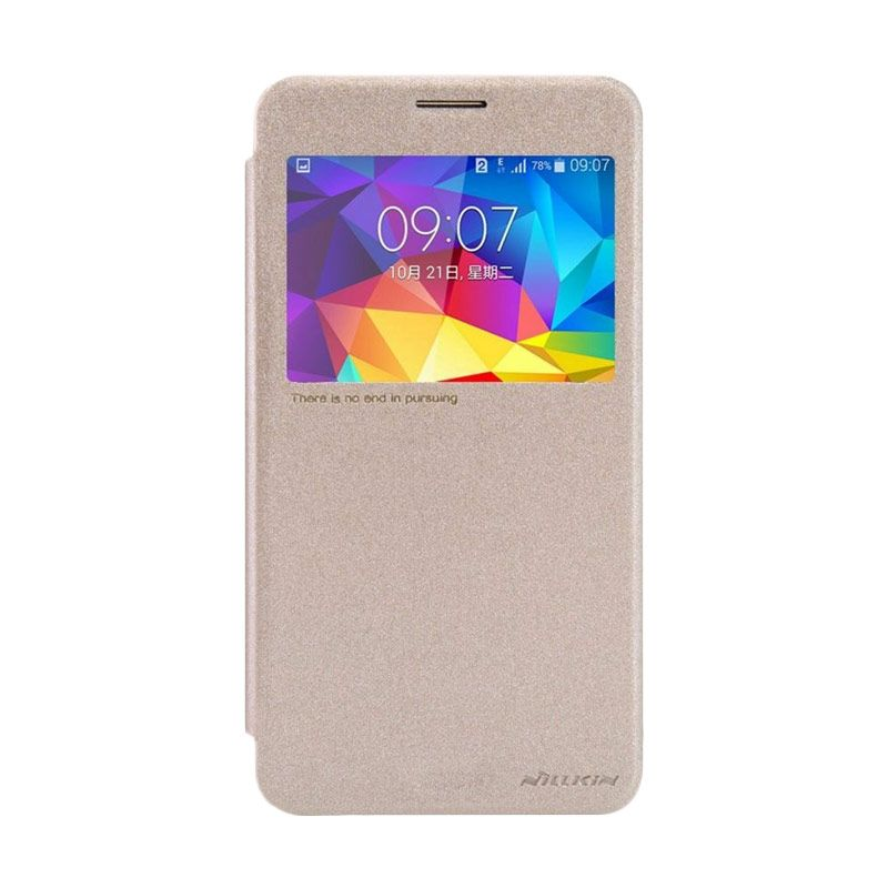 Nillkin Sparkle Leather Gold Flip Cover Casing for Galaxy Mega 2