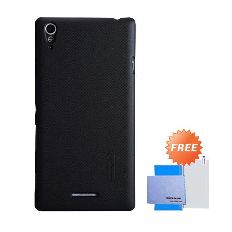 Nillkin Super Frosted Shield Hitam Casing for Xperia T3 + Screen Protector
