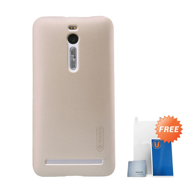 Nillkin Super Frosted Shield Gold Casing For Asus Zenfone 2 ZE551ML + Screen Protector