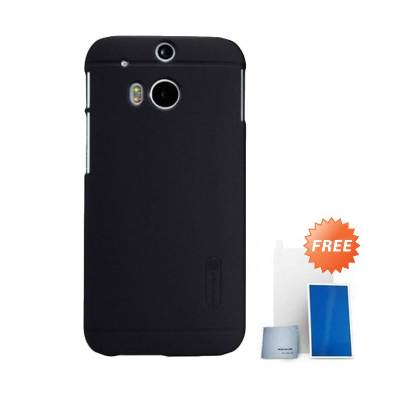 Nillkin Super Frosted Shield Hitam Casing for HTC One M8 + Screen Protector