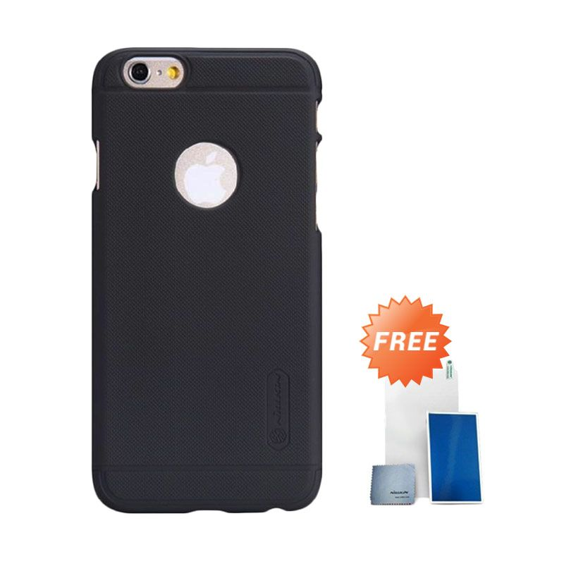 Nillkin Super Frosted Shield Hitam Casing for iPhone 6 + Screen Protector