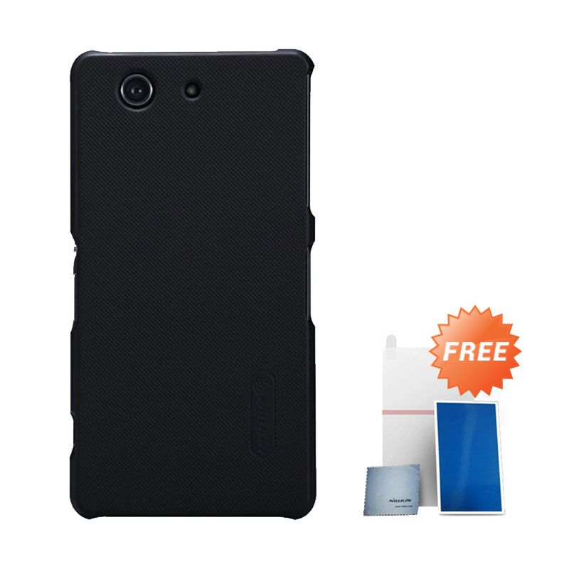 Nillkin Super Frosted Shield Hitam Casing for Sony XPeria Z3 Compact + Screen Protector