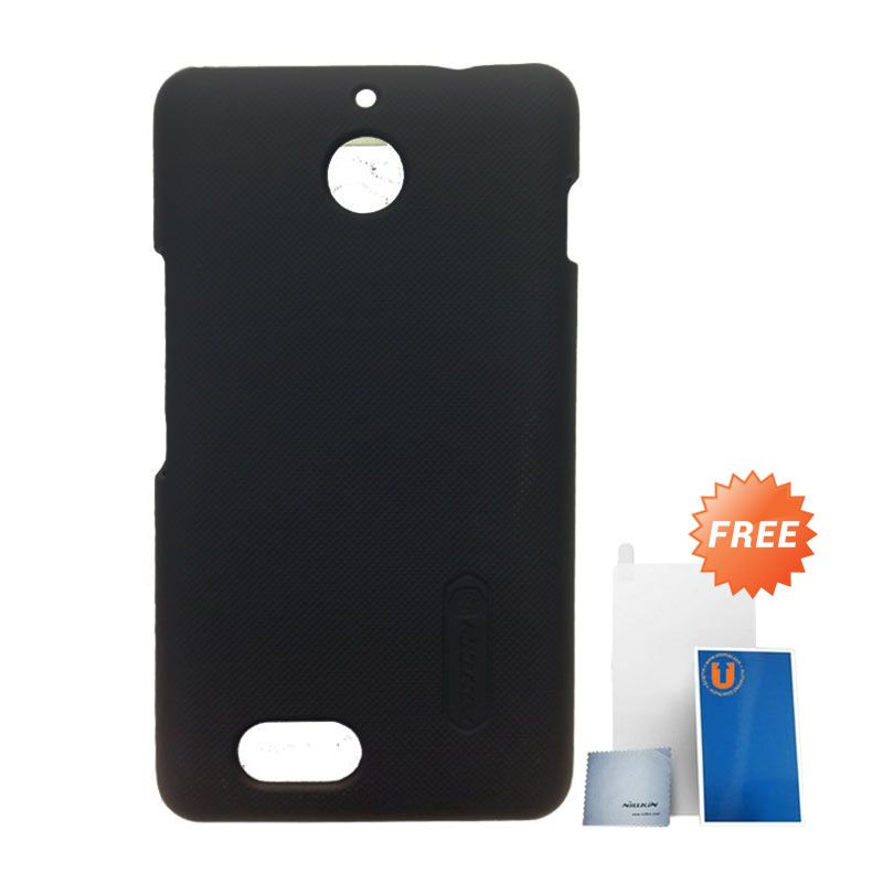 Nillkin Super Frosted Shield Hitam Casing for Xperia E1 + Screen Protector