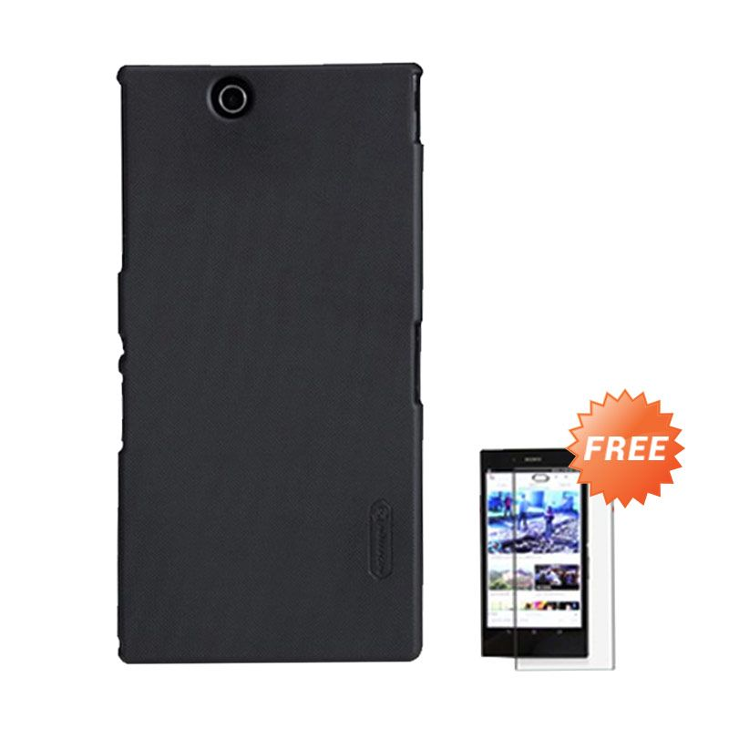 Nillkin Super Frosted Shield Hitam Casing for Xperia Z [4G] + Tempered Glass Screen Protector
