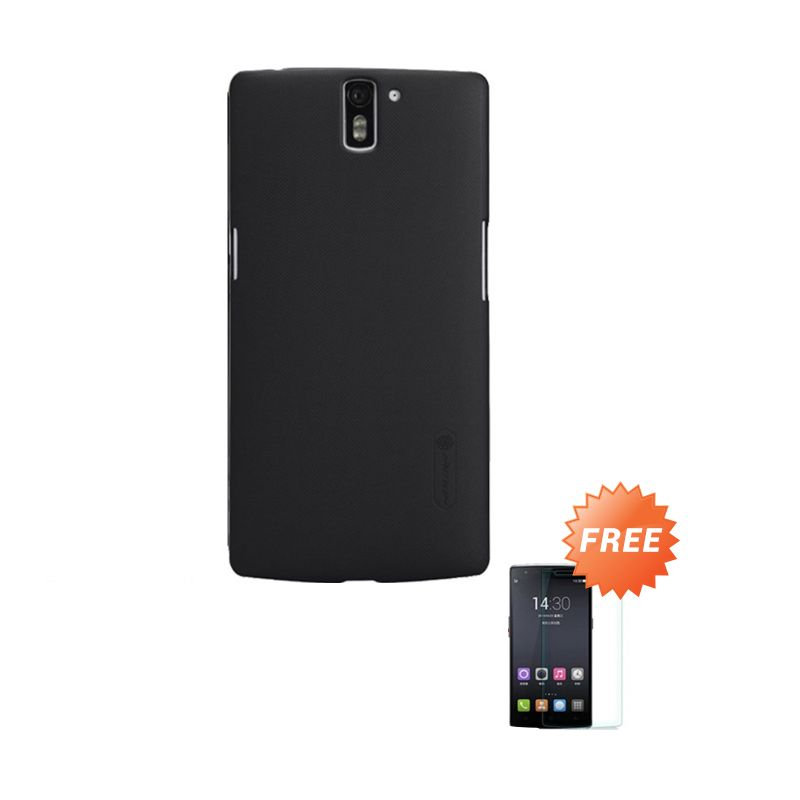 Nillkin Super Frosted Shield Hitam Casing for OnePlus One + Tempered Glass Clear