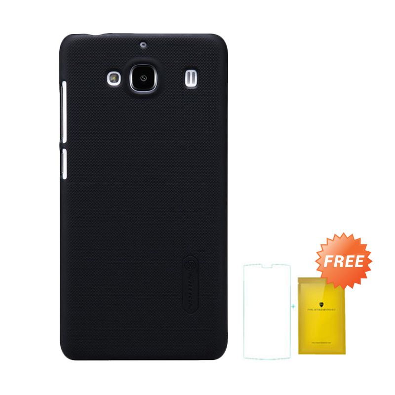 Nillkin Super Frosted Shield Hitam Casing for Xiaomi Redmi 2 + Tempered Glass Screen Protector