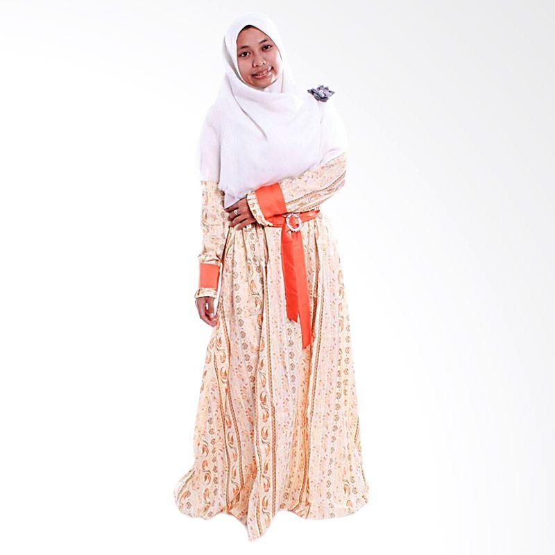 DeRums Gamis Katun Jepang Orange Dress Muslim
