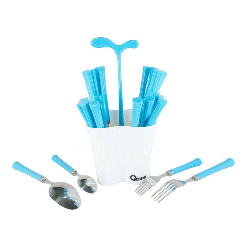 Oxone Cutlery Set With Pot OX-5000 Biru Set Sendok & Garpu [24 pcs]