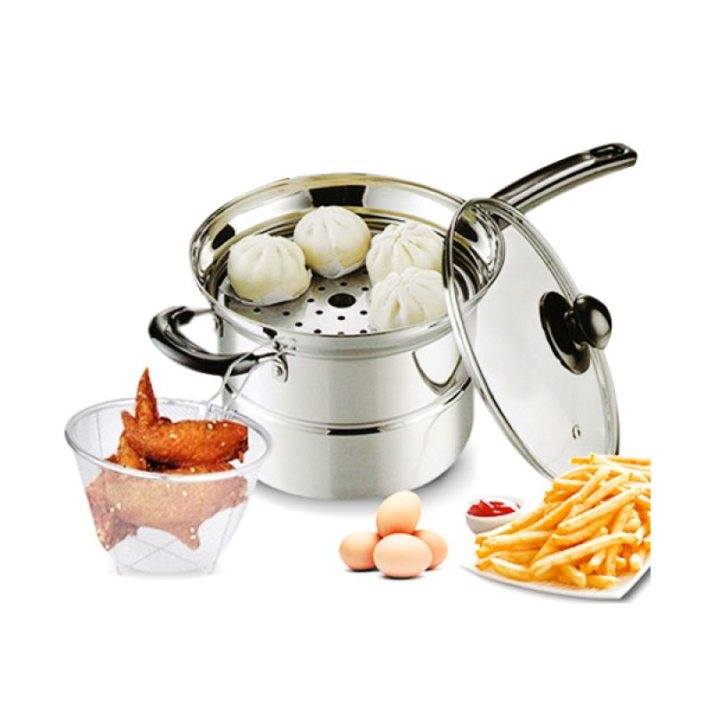 Vavinci 2 in 1 Steamer & Fryer Peralatan Masak