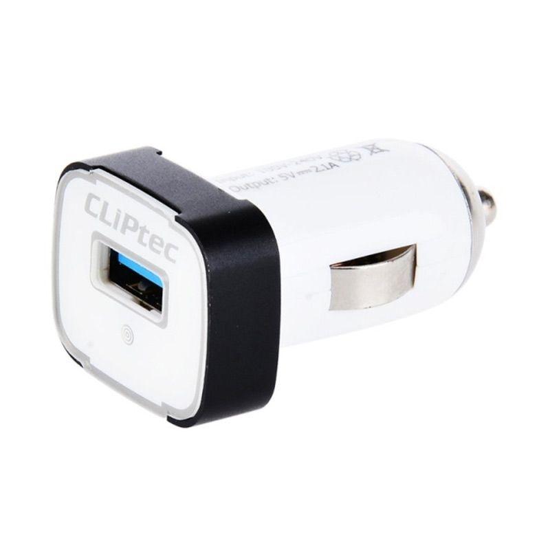 Cliptec GZU364 White Car Charger [Single USB/Port 2.1A]
