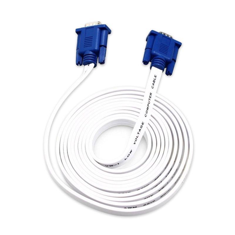 CLiPtec OCC320 Putih Slim Flat Kabel VGA [1.8 m]