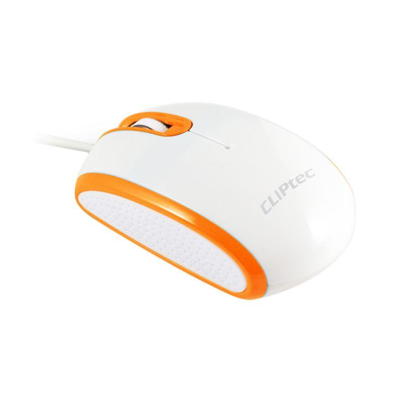 Cliptec RZS966 Orange White Mouse Kabel USB [1000 Dpi]