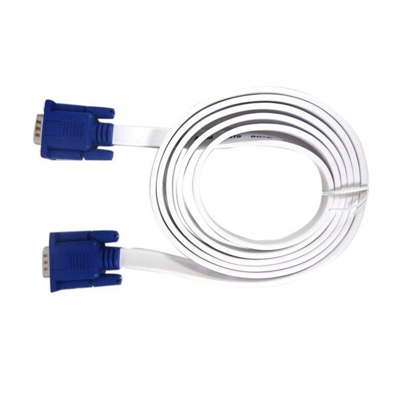 Cliptec SVGA Slim Flat OCC320 Putih Kabel Monitor [1.8m]