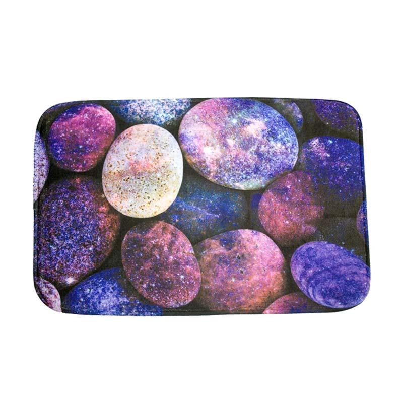 Dixon Motif Batu Purple Rock Keset Busa - Multi Colour [40x60 cm]