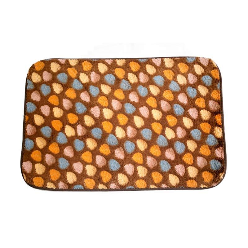 Dixon Motif Campur Brown Colorful Hearts Keset Busa - Coklat [40x60 cm]