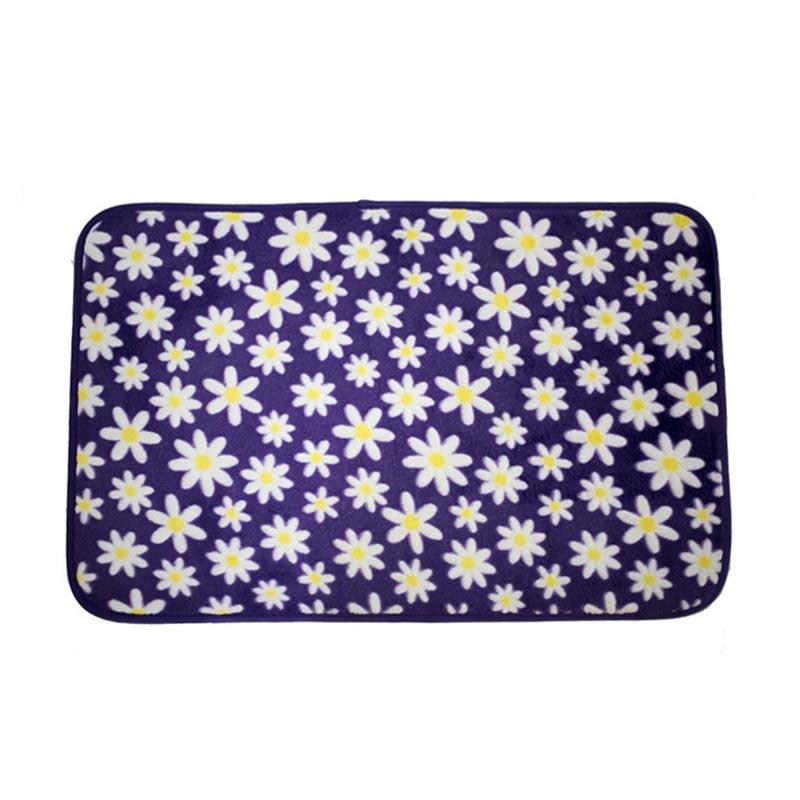 Dixon Motif Campur Purple Flowers Keset Busa - Ungu [40x60 cm]
