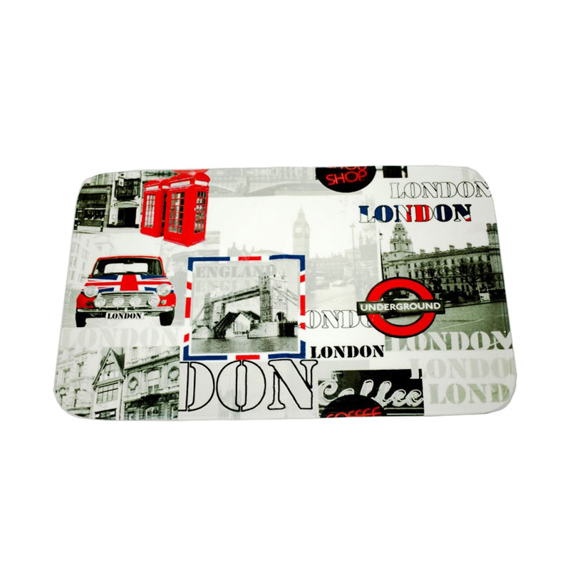 Dixon Motif Negara London Mini Keset Busa - Multicolor [45 x 75 cm]