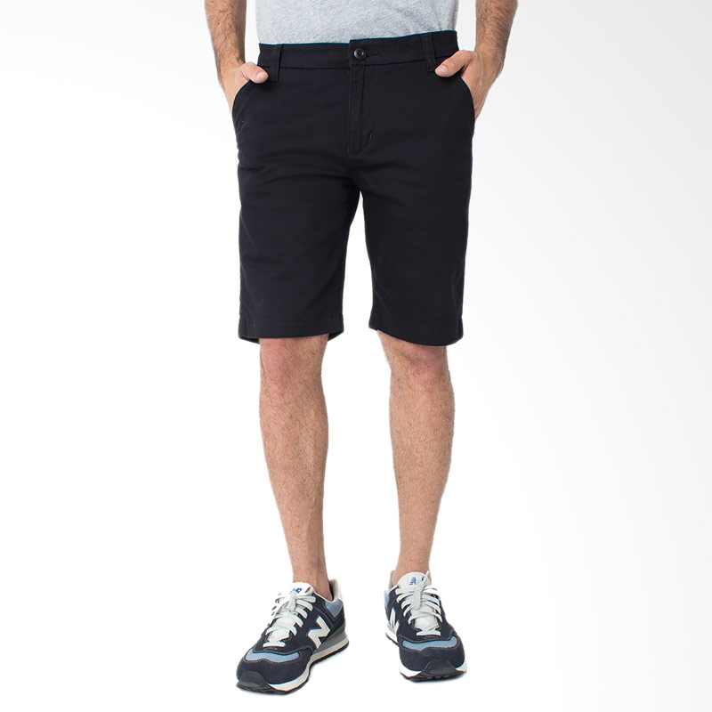 People's Denim Men Chinos Kronoss Short Slim Comfort Fit - Hitam