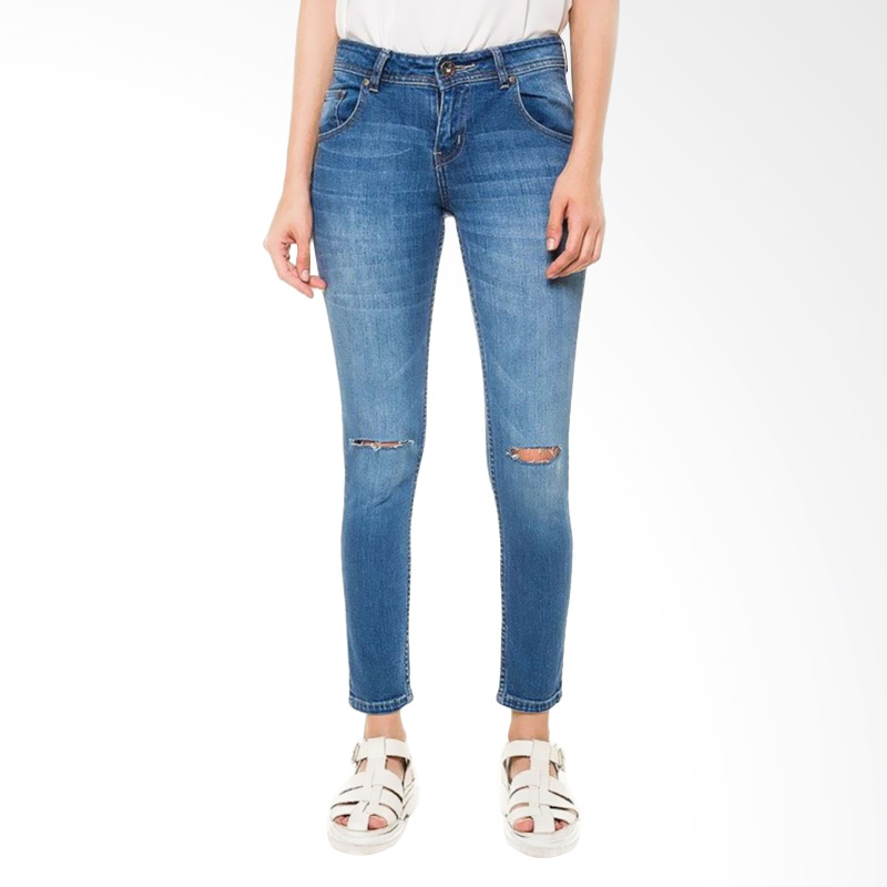 People's Denim Ladies Agnea Cut Ripped Jeans - Biru