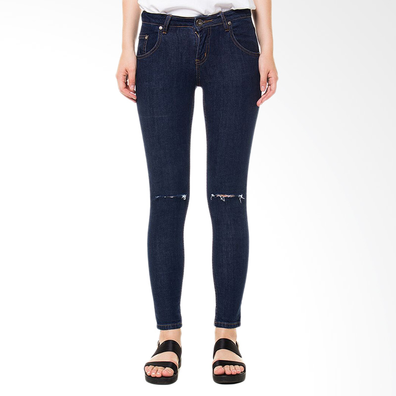 People's Denim Ladies Catrina Cut Ripped Slim Comfort Fit - Biru