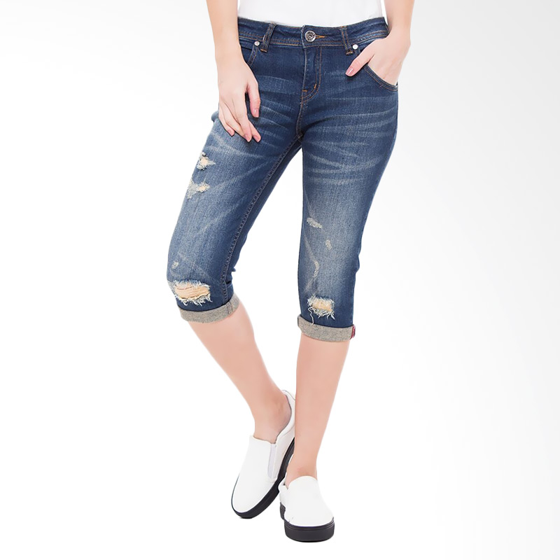 People's Denim Ladies Katlyn Ripped Ru 3/4 Slim Fit - Biru