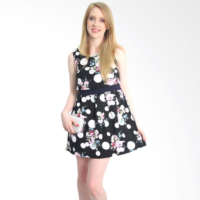 Dotts Megan In Polkadots Print Black Mini Dress
