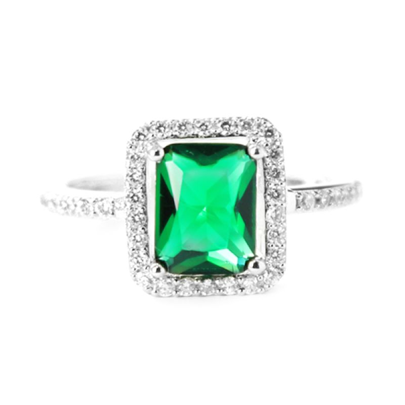 Dparis Rectangles Emerald Ring Silver Cincin Wanita