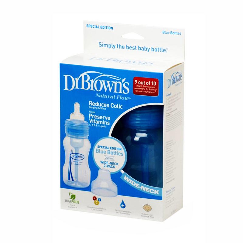 Dr. Brown's WB824-ES PP Wide-Neck Baby Bottle - Blue [8 oz/240 mL/2 pack]
