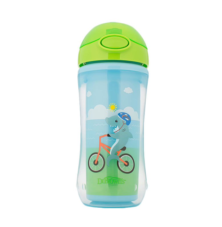 Dr.Brown's Insulated Straw Sport Cup Squirrel Shark Botol Minum Anak [300 mL]