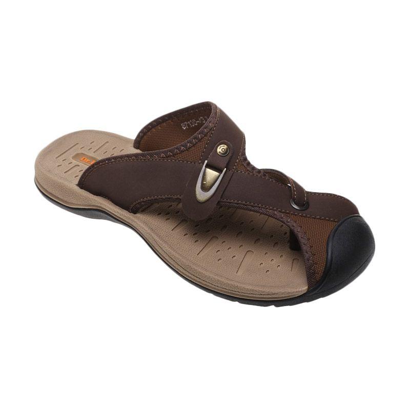 Dr Kevin Slip on Trendy Genuine Leather 87138 Coklat Sandal