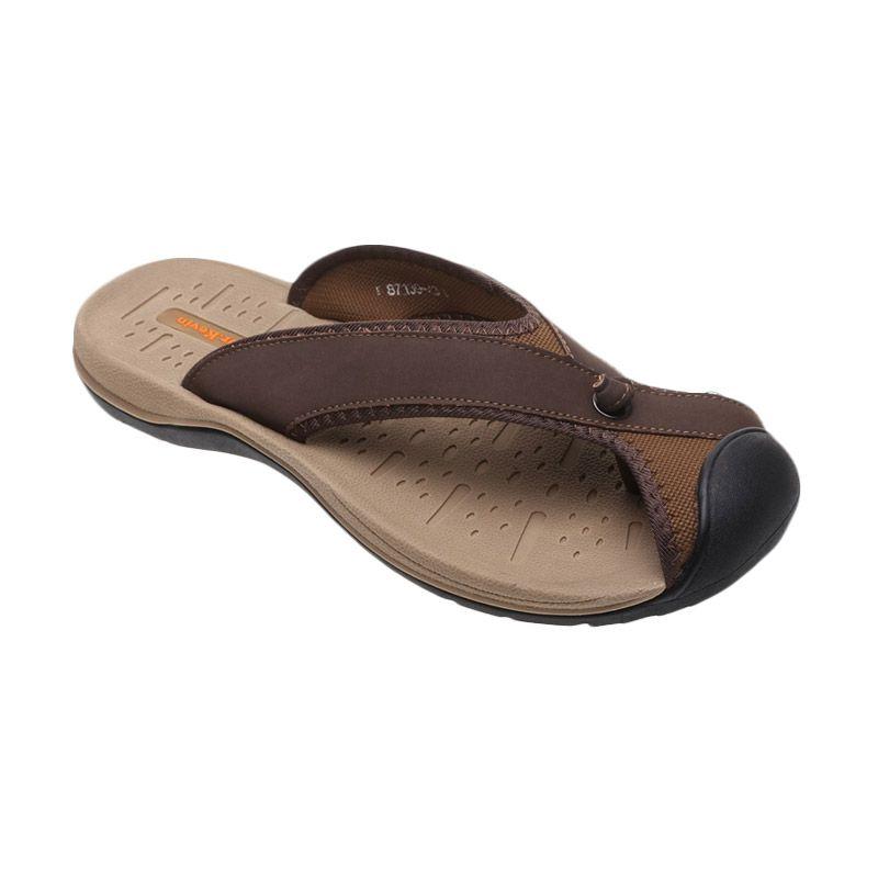 Dr Kevin Slip on Trendy Genuine Leather 87139 Coklat Sandal