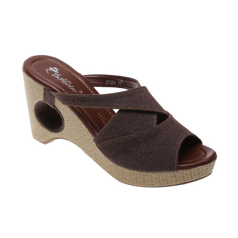 Dr Kevin Denim 27254 Coklat Sandal Wedges