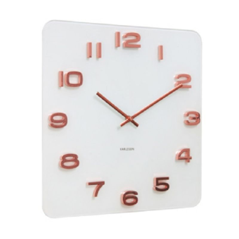 KARLSSON Vintage Copper Numbers Square White Jam Dinding