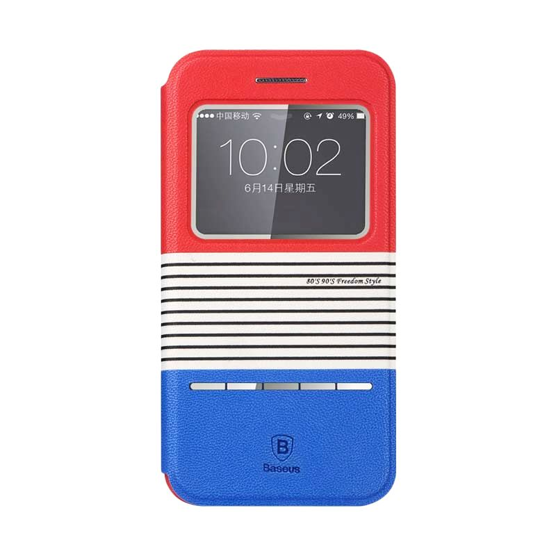 Baseus Eden Leather Red+Blue Casing For Iphone 6