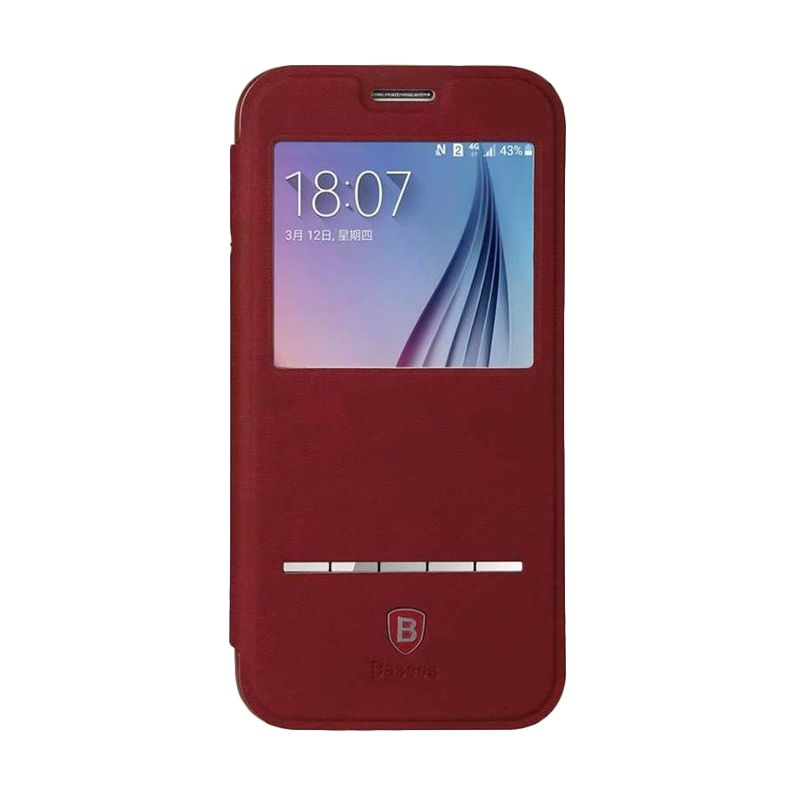 Baseus Terse Red Leather Casing for Samsung Galaxy S6